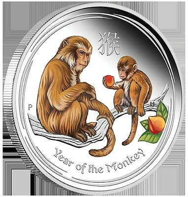 2016 50c Australian Lunar Series-Yr of the Monkey-1/2 oz Clrd Silver Pr Coin -PM