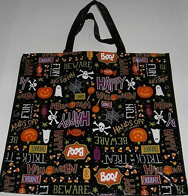 "Reusable Tote Bag   FUN HALLOWEEN ITEMS AND SAYINGS  19"" x 17"" x 7"""
