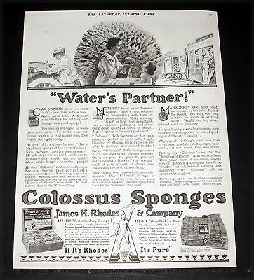 1918 Old Magazine Print Ad, Rhodes Colossus Natural Sponges, Water's Partner!