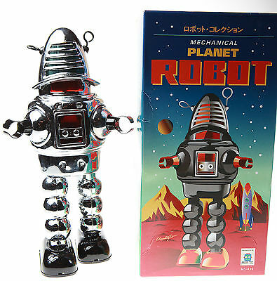 Silver Robby Robot Tin Toy Clockwork  Wind-Up Robbie Robot Sparks In Helmet