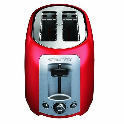 BLACK+DECKER TR1278RM 2-Slice Toaster, Red Bagel, Frozen and Cancel controls NEW