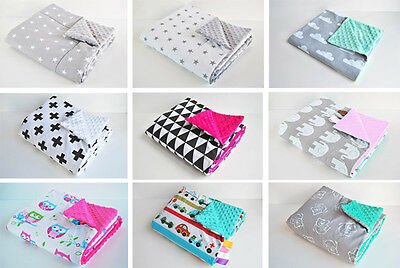 75x50 BABY pram BLANKET Cover MINKY pushchair FILLED warm cosy Cotton 60 DESIGN