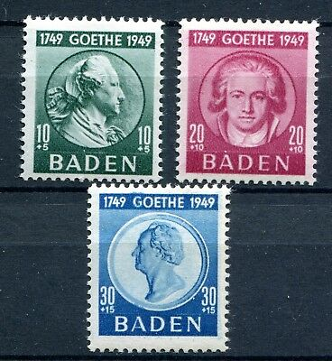 Germany French Occupation Zone Baden 1949 Goethe 5Nb12-5Nb14 Perfect Mnh