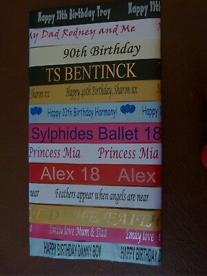 PERSONALISED PRINTED RIBBON 25mm WIDE CAKE CHRISTENING WEDDING,BIRTHDAY XMAS