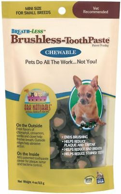 Ark Naturals Breath-less Dog Brushless-ToothPaste Chewable mini Size 4oz