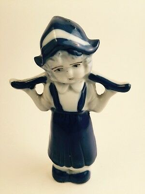 Porcelain 5 Inch Blue and White Dutch Girl Figurine Made In Japan