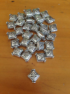 Antique Silver Diamond Spacer Beads x 25