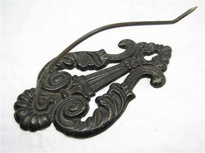 Early Cast Iron Victorian Letter Holder Note Receipt Desk Tool Wall Mount Lyre D