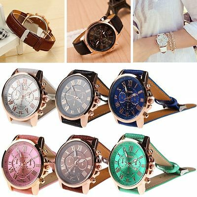 New Fashion Women's Lady Geneva Roman Numerals Leather Analog Quartz Wrist Watch