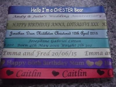 PERSONALISED PRINTED RIBBON 15mm WIDE CHRISTENING WEDDING,BIRTHDAY XMAS BABY