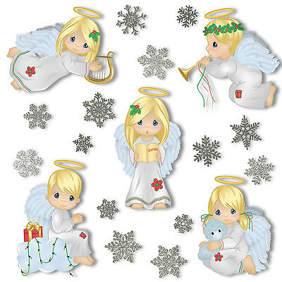 Christmas Angel Window Clings 28 Glitter Snowflakes Stickers Static Decorations