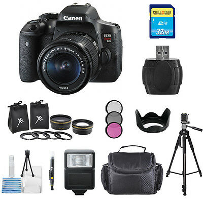 Canon T6i/750D DSLR Camera W/ EF-S 18-55mm f/3.5-5.6 IS STM Lens-BLK! PRO BUNDLE