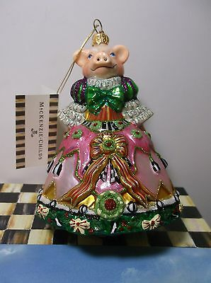 MacKenzie Childs PIGEEN 53914-37 Pig in Christmas Gown Ornament New NIB