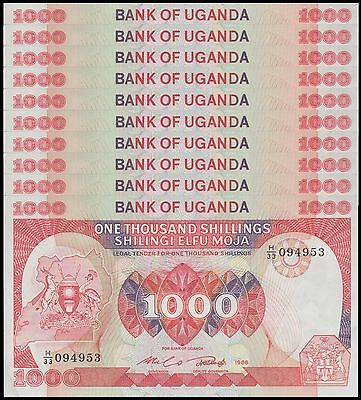 Uganda 1,000 (1000) Shillings X 10 Pieces (PCS), 1986,  P-26, UNC