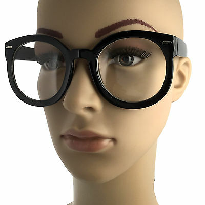 Nerdy Retro Fashion Style Clear Lens Large Oversized Round Eye Glasses Black