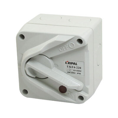 UKF4-220 2-Postion Double Pole IP56 Weatherproof Isolator Switch 250VAC 20A