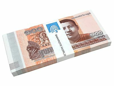 Cambodia 100 Riel X 100 Pieces (PCS), 2014, P-65, UNC, Bundle, Pack