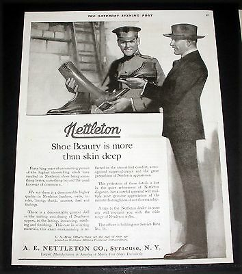 1918 Old Wwi Magazine Print Ad, Nettleton Shoes, Beauty Is More Than Skin Deep!
