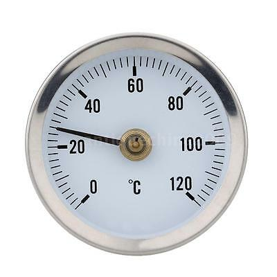 0-120°C 63mm Dial Water Pipe Thermometer Temperature Gauge Industrial Use 6DN5