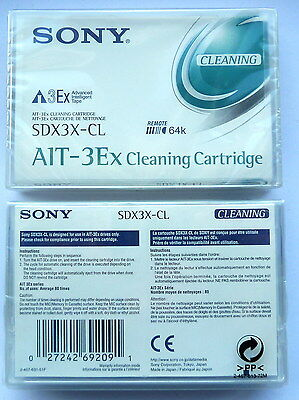 SONY SDX3X-CL  AIT-3EX 8mm CLEANING TAPE - REMOTE 64Kb NEW - FACTORY SEALED