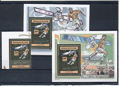 Football Soccer Germany 2006 Ivory Coast MNH stamp set gold 1 val+2 de-luxe s/s