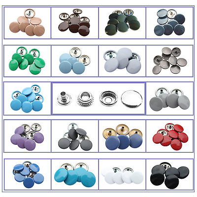10 - 100 Sets of 15mm Large Press Studs Snap Fastners 27 different colours caps