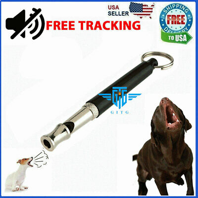 Dog Training WHISTLE UltraSonic Obedience Stop Barking Pet Sound Pitch Black NEW