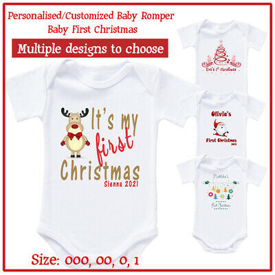 First Christmas Outfit - Personalised Baby Newborn Romper Bodysuit Photo shot