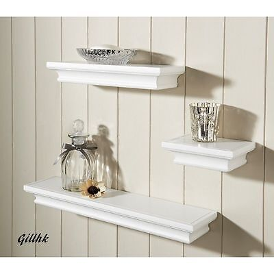 Shabby Chic Set of 3 Wall Floating Shelves available in white and black