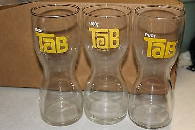 "Lot of 3 Vintage ""Enjoy TAB"" Hourglass Drinking Glass Tumblers"