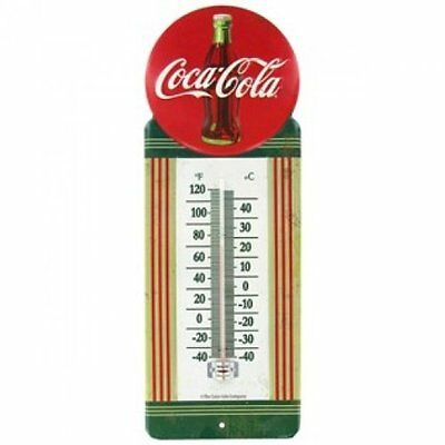 1950's Vintage Style Metal Red Button Coca Cola Thermometer Embossed Sign Gen...