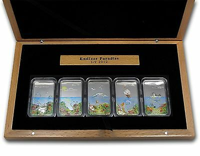 Palau $2 Dollars X 5 Silver Proof Coin Set, 2012, Mint, Endless Paradise