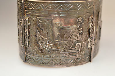 Vintage Colombian 900 Silver Wide Panel Bracelet W/ Raised Mythological Figures