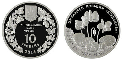 Ukraine 10 Hryvnias Silver Coin, 2014, Mint, Flora and Fauna Cyclamen Coum
