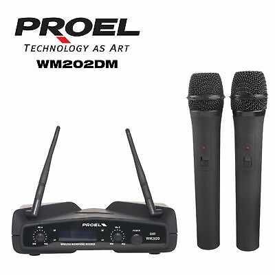 PROEL WM202DM DUAL 2 radio microfoni wireless a gelato + bauletto karaoke live