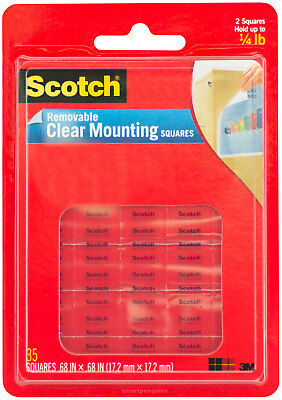 Scotch Removable Clear Mounting Squares Double Sided Adhesive Photo Safe 35ct