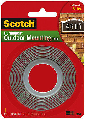 "Scotch Permanent Outdoor Mounting Tape 3M Double Sided Adhesive 1"" x 60"""