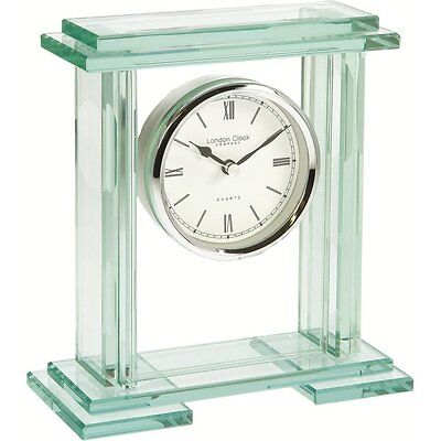 London Clock Co.  Modern Table Mantle Clock, Glass, 05089