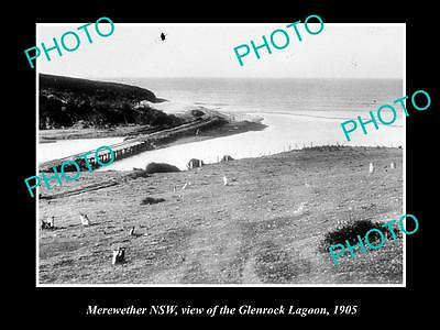 OLD LARGE HISTORICAL PHOTO OF MEREWETHER NSW, VIEW OF THE GLENROCK LAGOON 1905
