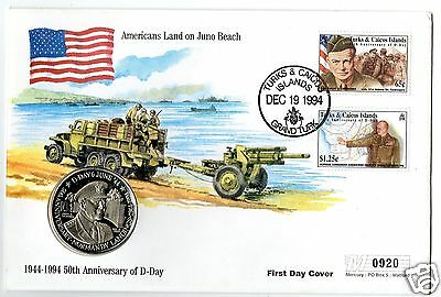 TURKS & CAICOS  1994  50th  ANNIVERSARY OF D-DAY. EISENHOWER 5 CROWNS COIN COVER