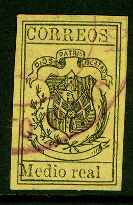 DOMINICAN REPUBLIC 1873 COAT OF ARMS ½r blk, yellow Sc# 29 used XF violet cancel