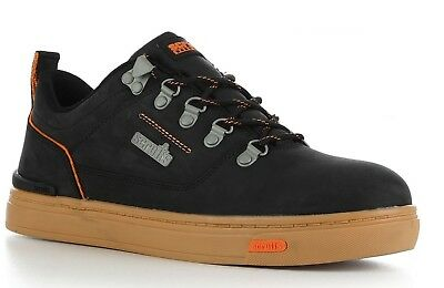 SCRUFFS DAKOTA Safety Work Trainers Shoes BLACK Leather Steel Toe S2P SRC Rated