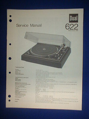 Dual 622 Turntable Service Manual Original Factory Issue