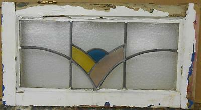 "MID SIZED OLD ENGLISH LEADED STAINED GLASS WINDOW Cute Abstract 25.75"" x 14"""