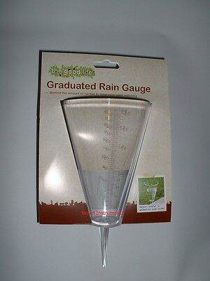 Quality Gardeners Traditional Clear Plastic Rain Weather Gauge Cone With Spike