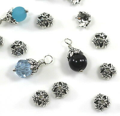 TierraCast Jasmine Bead Caps, 7mm, Fine Silver Plated Pewter, 10 Pieces, 1512