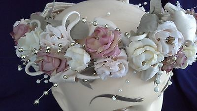 vintage wedding wreath headpiece flowers pearl gold leaves ivory bow comb vgvc