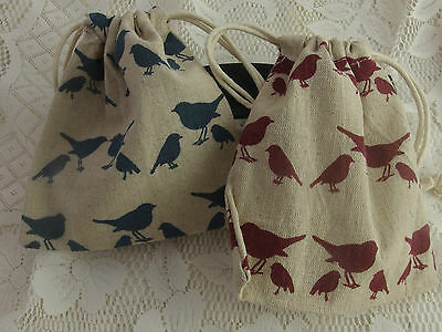 Birds Cotton Sack Drawstring Pouch Favour Bag Jewellery Travel Gifts 14 x 15 cm
