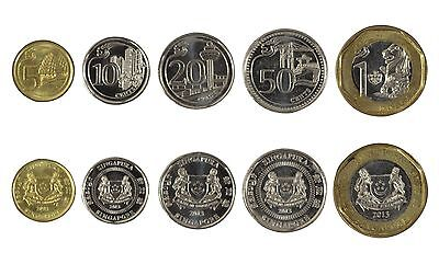 Singapore 5 Cents - 1 Dollar X 5 Pieces (PCS) Coin Set, 2013, KMS-2105, Mint