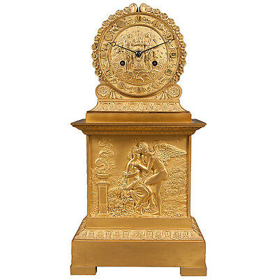 French Antique Charles X Ormolu Bronze Mantel Clock Depicting Cupid & Psyche